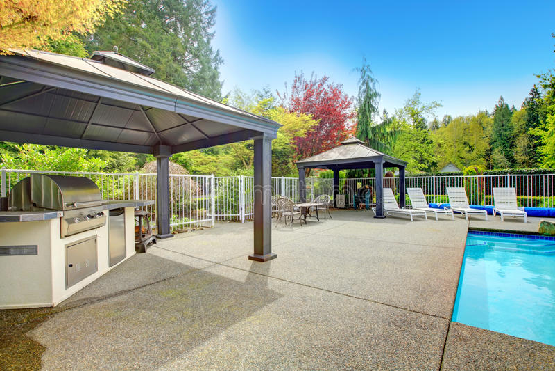 Backyard patio area stock photo