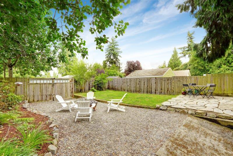 Backyard patio area royalty free stock image