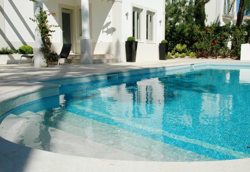 Backyard Blue Pool, Home, Garden, Luxury, Summer royalty free stock photos