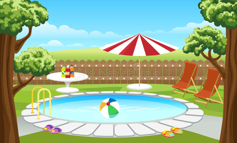 Backyard pool with fence and parasol. Backyard pool vector illustration. Cartoon house lounge poolside with fence and parasol, water and trees royalty free illustration