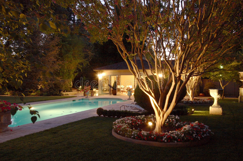 Download Backyard Pool House stock image. Image of chairs, evening - 4576753