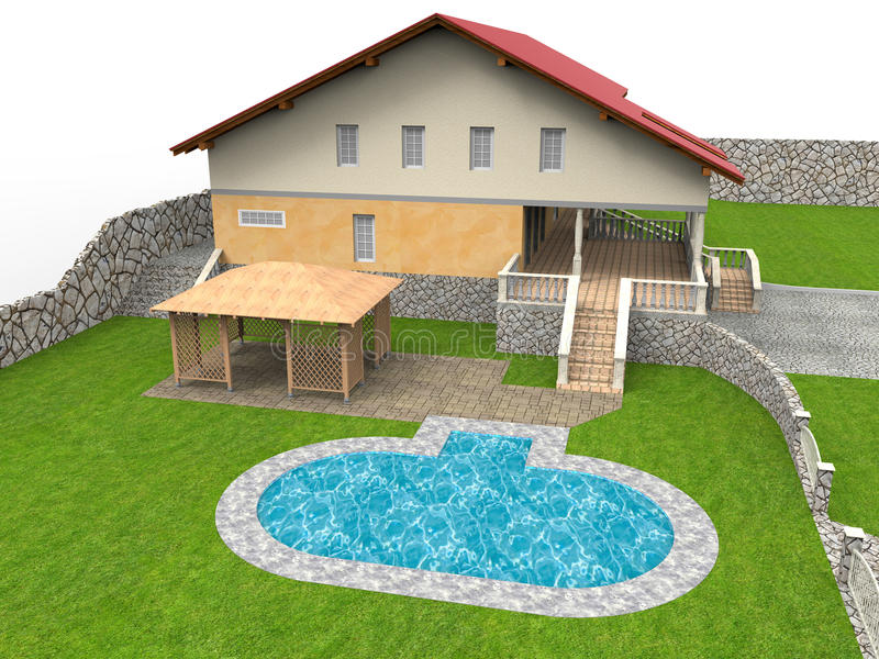 Backyard pool house illustration. 3D render illustration of a backyard pool house. The composition is isolated on a white background with no shadows stock illustration