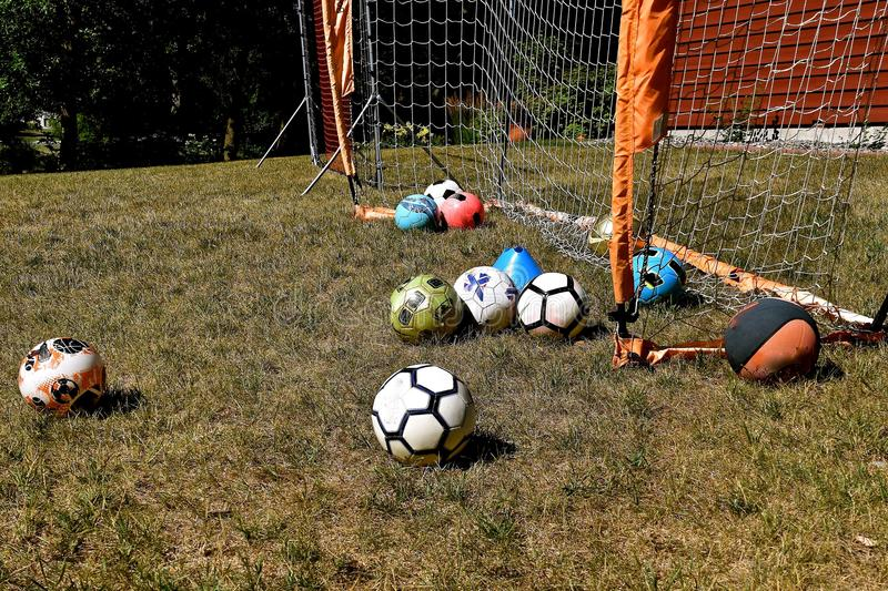 Download Backyard Soccer With Various Colored Balls Stock Image   Image Of  Game, Colored: