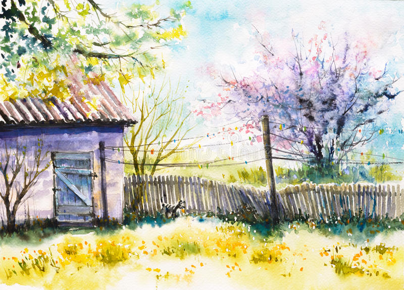 Backyard. At spring. Picture created with watercolors royalty free illustration