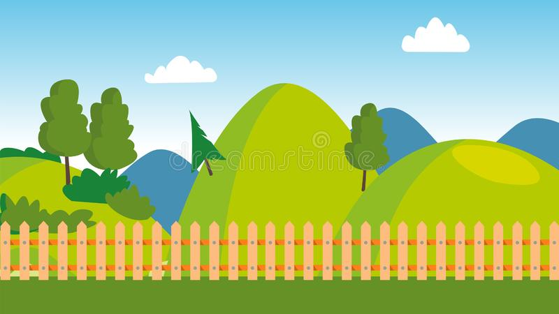 Backyard, Wooden Fence, Cartoon Lawn Vector Panorama. Backyard Scenery, Scenic Landscape, Countryside Recreation, Scene With Trees. Green Hills, Natural vector illustration