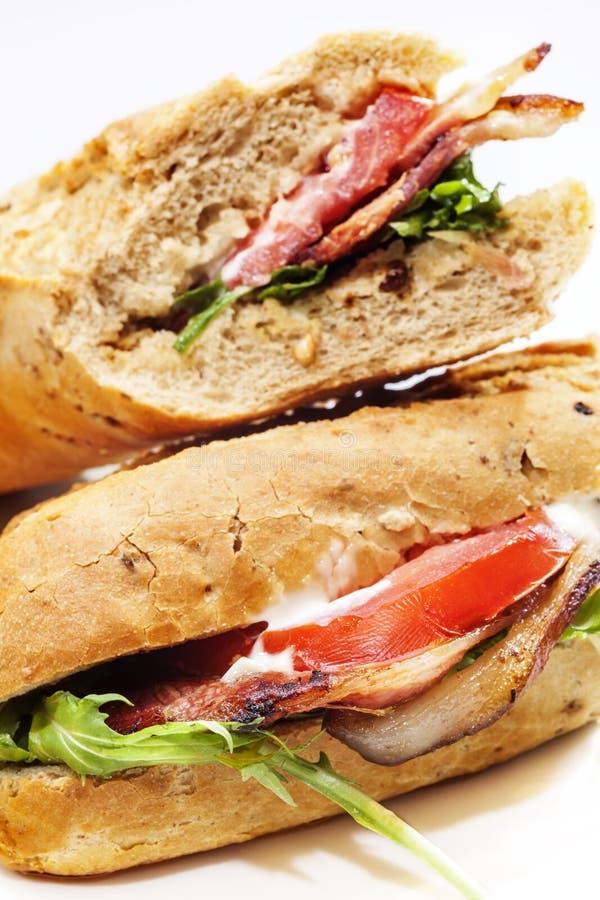 Bacon baguette stock photos