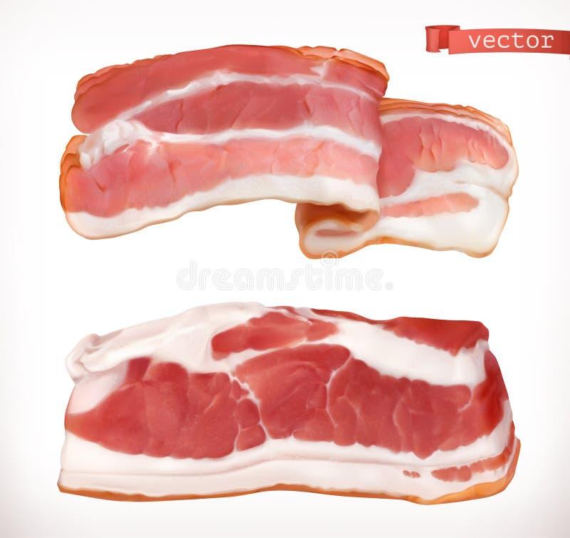bacon Carne fresca, insieme dell'icona di vettore 3d royalty illustrazione gratis