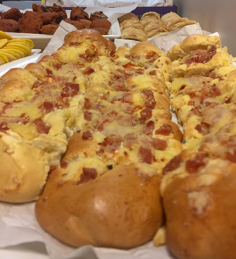 Bacon and cheese bread rolls royalty free stock photography