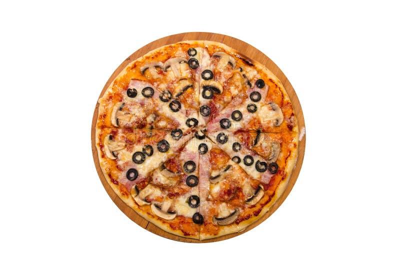 Bacon, cipolle caramellate, funghi, olive, formaggio della mozzarella immagini stock libere da diritti