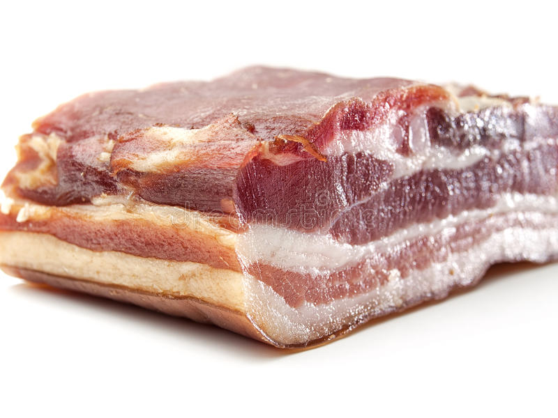 Bacon close up. Bacon over white background close up , for food, diet, health themes royalty free stock photos