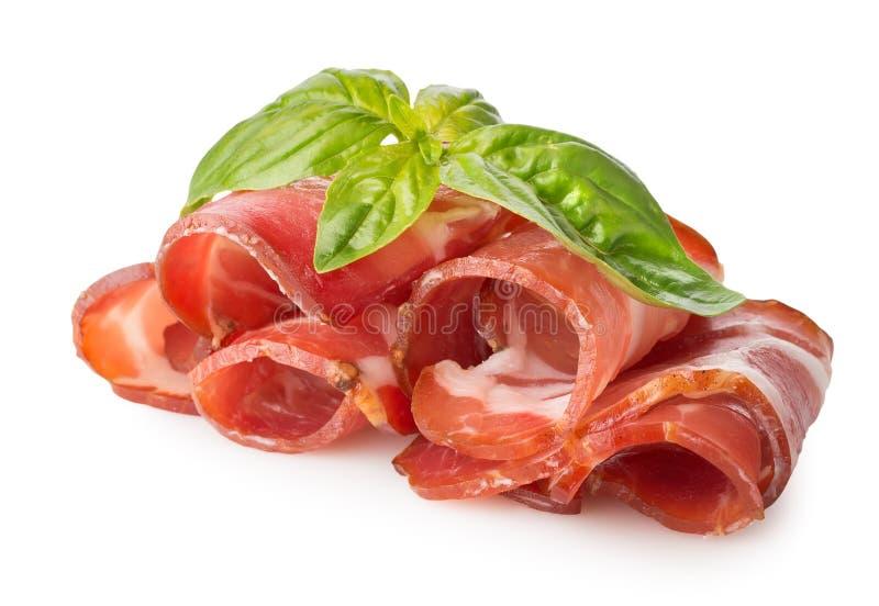 Bacon con le erbe immagini stock