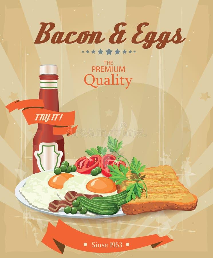 Bacon con le uova fritte, i piselli, i pomodori, i cetrioli ed il ketchup del pane tostato Prima colazione tradizionale royalty illustrazione gratis