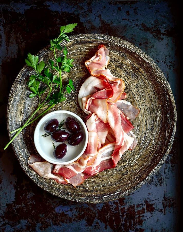 Bacon cortado foto de stock