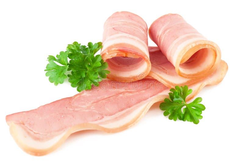 Bacon cortado saboroso com salsa fotografia de stock royalty free