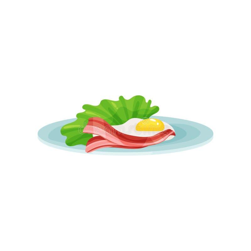 Bacon e ovos fritos em uma placa, alimento para a ilustração do vetor do café da manhã em um fundo branco ilustração royalty free