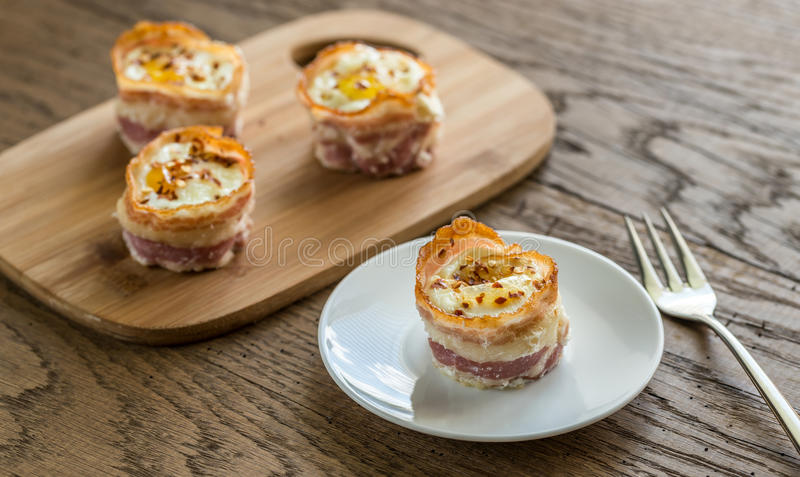 Bacon egg cups royalty free stock images