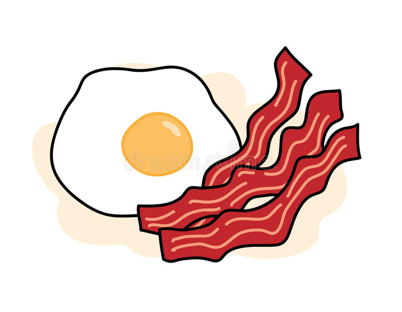 Bacon and Egg. A hand drawn vector illustration of delicious bacons and egg, isolated on a simple background (each objects is properly grouped and editable vector illustration