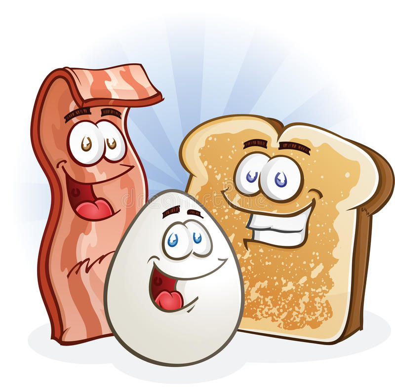 Bacon Egg and Toast Characters. A group of fun breakfast characters, smiling and ready for the morning vector illustration