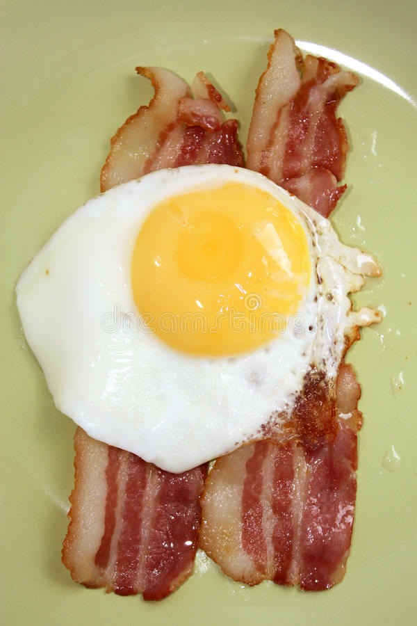 Bacon and eggs. Freshly cooked bacon and eggs stock images