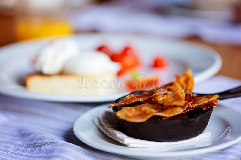 Bacon and eggs for breakfast stock images
