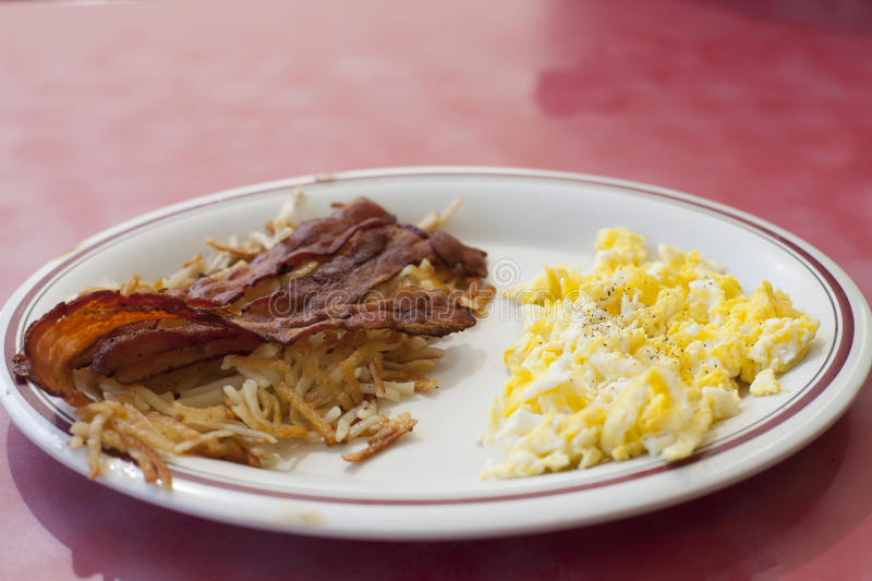 Bacon and Eggs. Breakfast plate of bacon, eggs and hashbrowns stock image