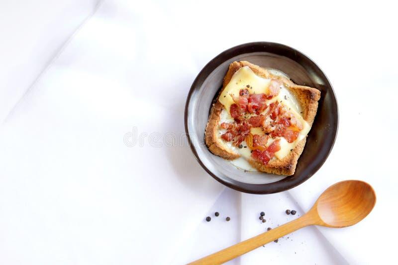 Bacon, ei en brood stock foto's