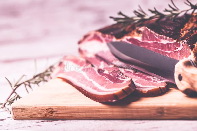 Bacon en mes royalty-vrije stock foto's