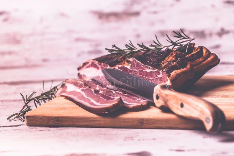 Bacon en mes royalty-vrije stock foto