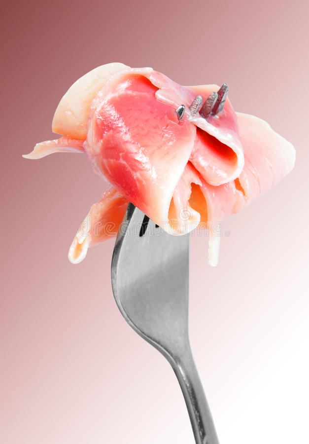 Bacon On Fork Stock Images