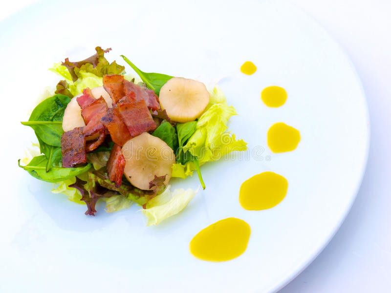 Download Bacon Gourmet Salad On White Plate Stock Image - Image: 11365731