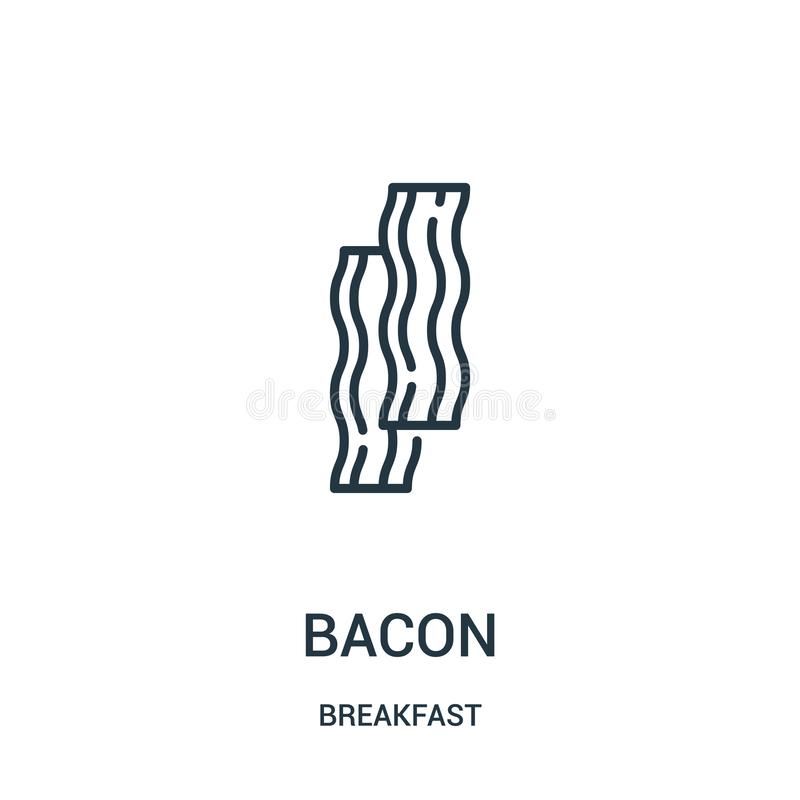 bacon icon vector from breakfast collection. Thin line bacon outline icon vector illustration. Linear symbol for use on web and vector illustration