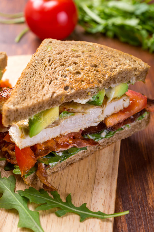 Bacon, Lettuce and Tomato BLT Sandwiches. Grilled BLT Bacon, Lettuce and Tomato Sandwiches with Chicken and Avocado stock photography