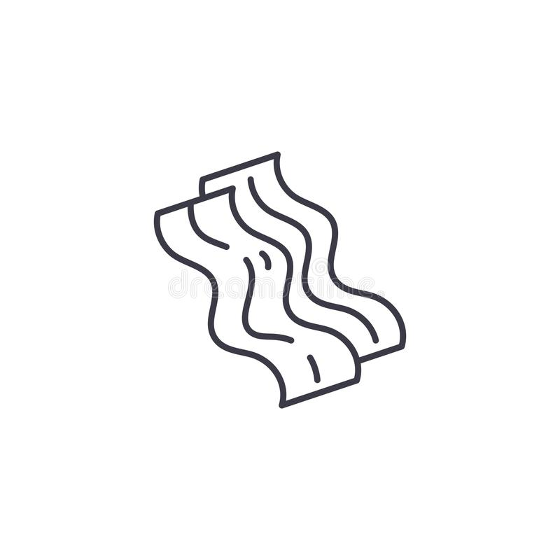 Bacon linear icon concept. Bacon line vector sign, symbol, illustration. royalty free illustration