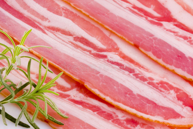 Bacon, meat. Background texture and bacon, red meat diet, fat stock image