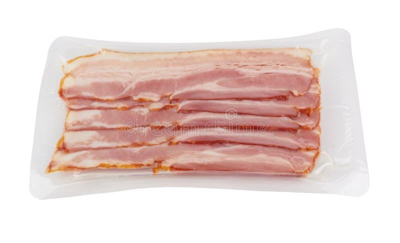 Bacon no branco fotografia de stock