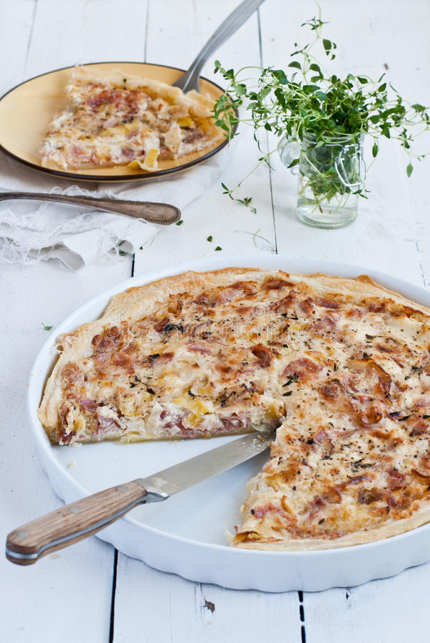 Bacon onion corn quiche royalty free stock images