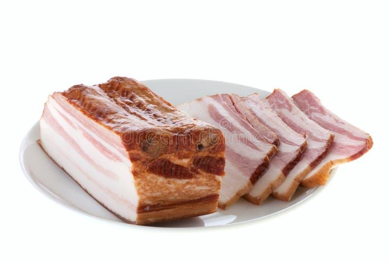 Bacon op een plaat royalty-vrije stock foto's