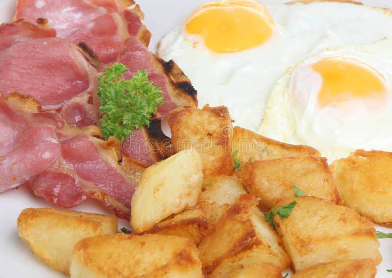 Bacon, ovo & batatas fritadas foto de stock royalty free