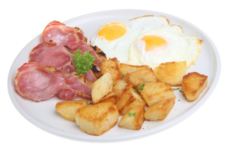 Bacon, ovos & batatas fritadas fotos de stock royalty free
