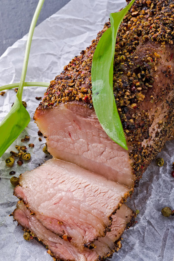 Bacon with pepper honey crust. A bacon with pepper honey crust royalty free stock photography