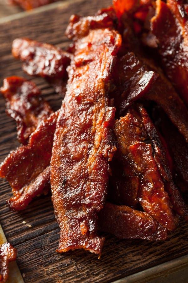 Bacon secado caseiro do assado espasmódico foto de stock