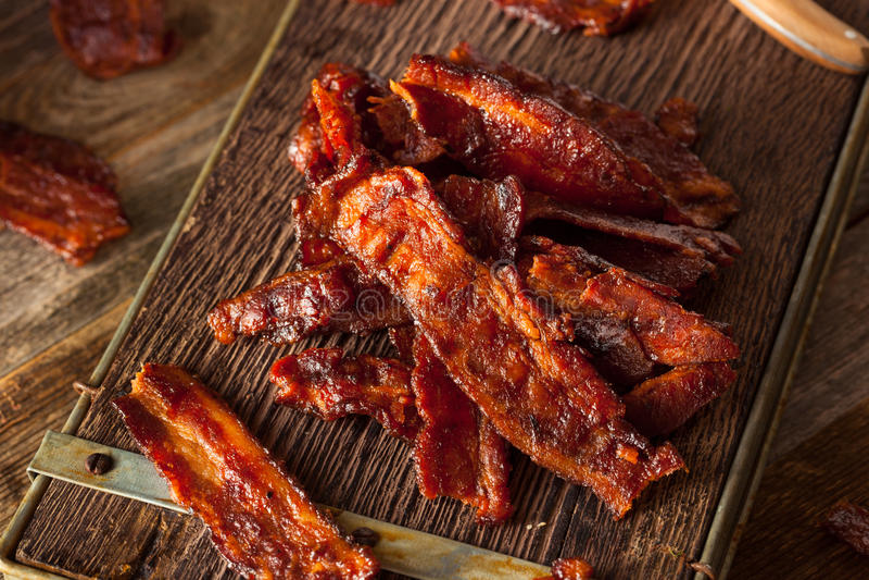 Bacon secado caseiro do assado espasmódico fotografia de stock royalty free