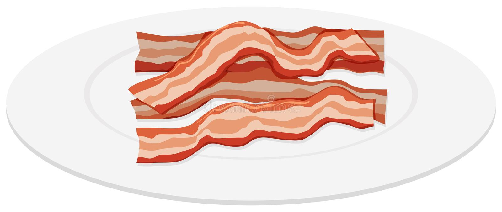 Bacon slices on plate stock illustration