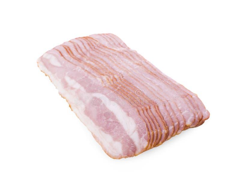 Bacon som isoleras på vit bakgrund fotografering för bildbyråer