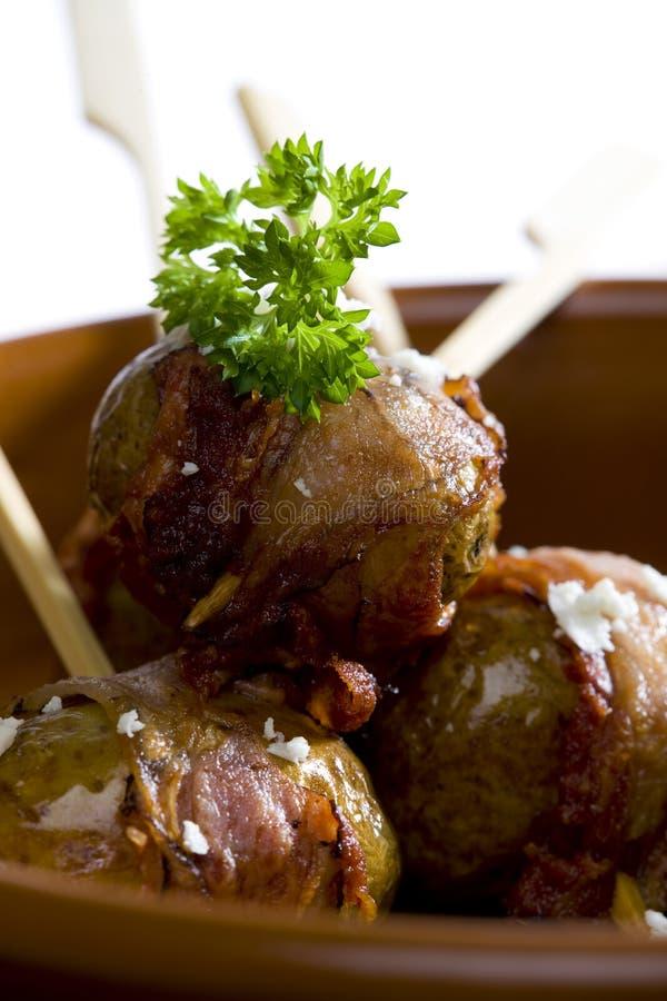 bacon stekte potatisar fotografering för bildbyråer
