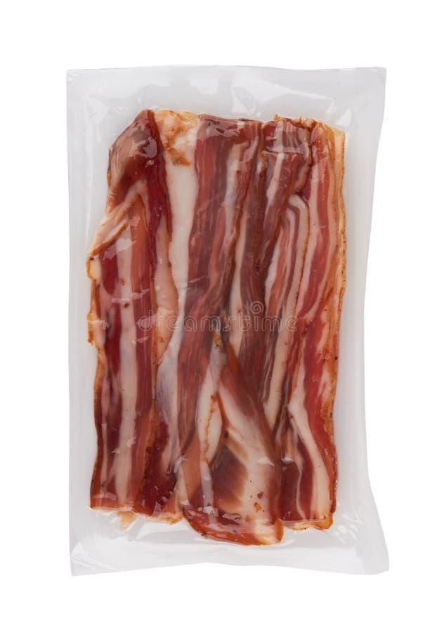 Bacon on white. Raw bacon isolated on white background royalty free stock photos