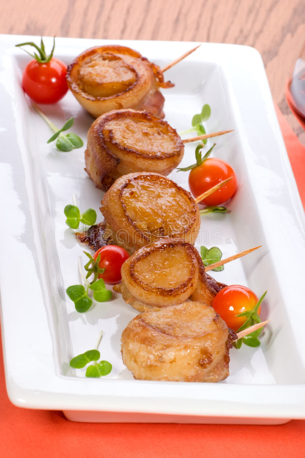 Download Bacon-Wrapped Ginger Soy Scallops Stock Image - Image: 7518915