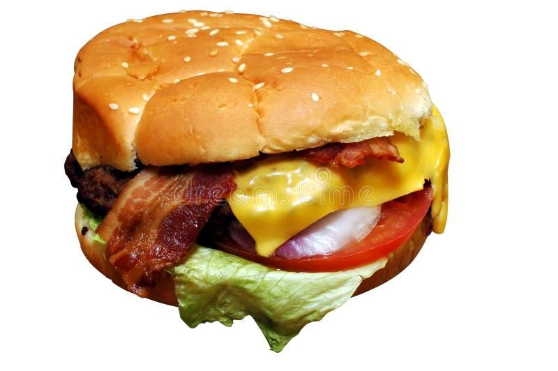 baconcheeseburger royaltyfri bild