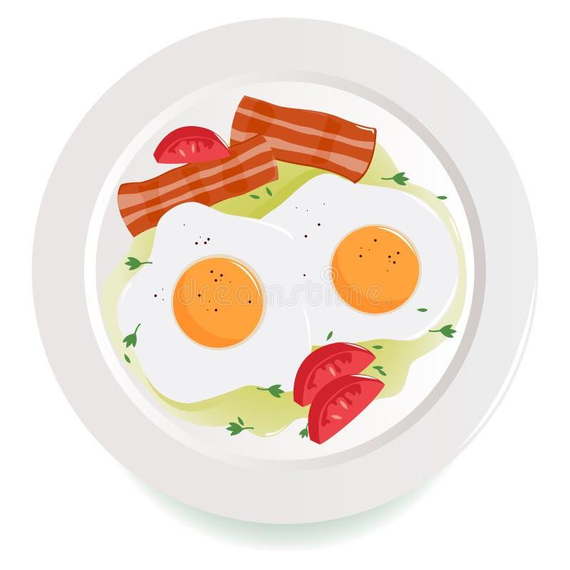 Download Baconeieren En Tomatenschotel Vector Illustratie - Illustratie bestaande uit plakken, geïsoleerd: 39107088