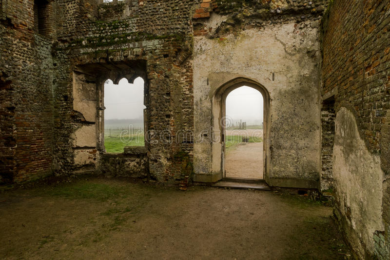 Baconsthorpe Castle, Norfolk, England. An ancient monument in East Anglia, England. A medieval castle on a misty winter`s day stock images
